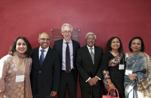 (L-R) Sanchita Saxena, Director of the Chowdhury Center, UC Berkeley; Subir Chowdhury, (Donor); Chancellor Nicholas Dirks of UC Berkeley; Sir Fazle Abed, Founder of BRAC; Malini Chowdhury (Donor); Lady Abed
